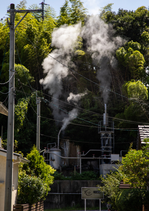 Smoke in the hot spring area, Oita Prefecture, Beppu, Japan