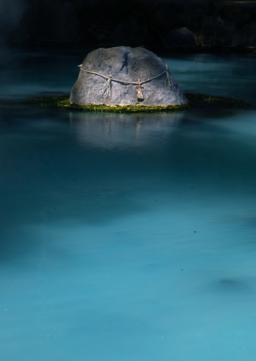 Pond with turquoise color in Kamado jigoku cooking pot hell, Oita Prefecture, Beppu, Japan
