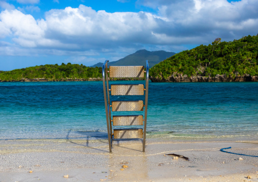 Boat ladder on the beach of Kabira bay, Yaeyama Islands, Ishigaki-jima, Japan