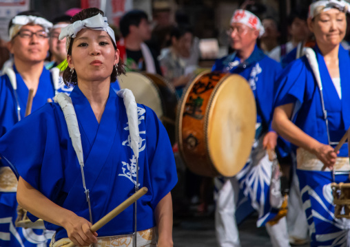 Japanese musicians during the Koenji Awaodori dance summer street festival, Kanto region, Tokyo, Japan