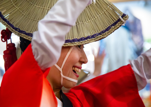Japanese woman with straw hat during the Koenji Awaodori dance summer street festival, Kanto region, Tokyo, Japan