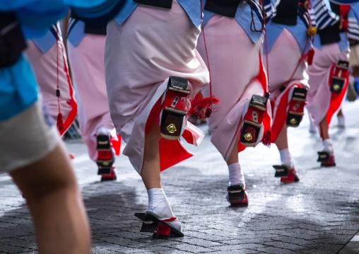 Japanese women dancing during the Koenji Awaodori dance summer street festival, Kanto region, Tokyo, Japan