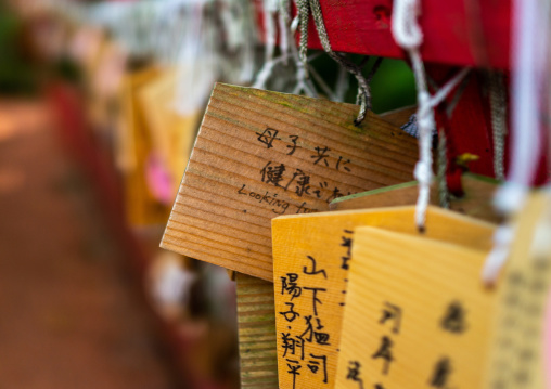 Wooden fortune telling plaques in a shrine, Ishikawa Prefecture, Kanazawa, Japan