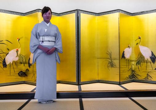 Traditional japanese screen inside kinjhoro ryokan, Ishikawa Prefecture, Kanazawa, Japan