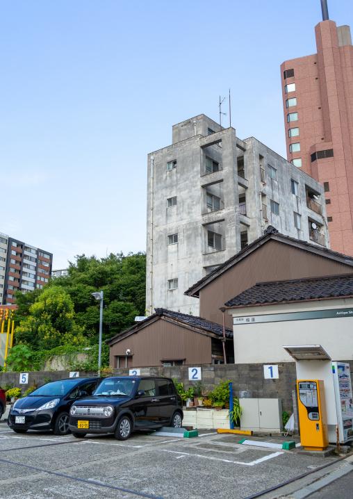 Cars on a parking, Ishikawa Prefecture, Kanazawa, Japan