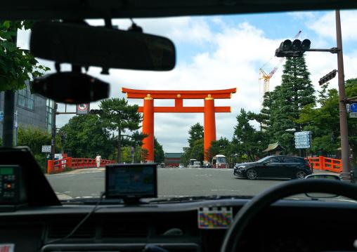 Heian jingu shrine torii gate, Kansai region, Kyoto, Japan