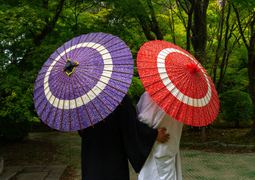 Japanese couple with umbrellas in the botanic garden, Kansai region, Kyoto, Japan