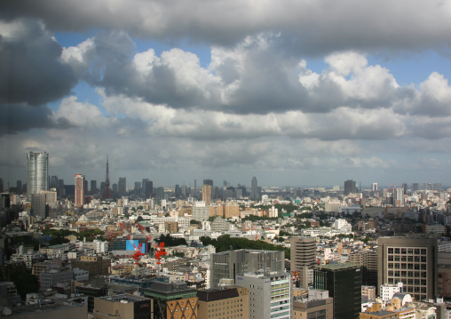 Cloudy aerial view of the town, Kanto region, Tokyo, Japan