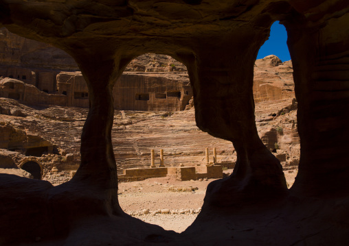 Cave With Roman Amphitheatre In The Background, Petra, Jordan