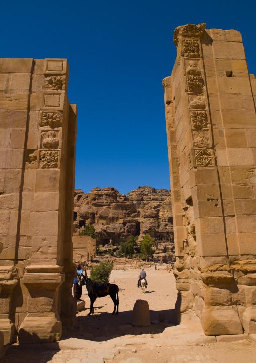Royal Tombs Seen Through Roman Door, Petra, Jordan