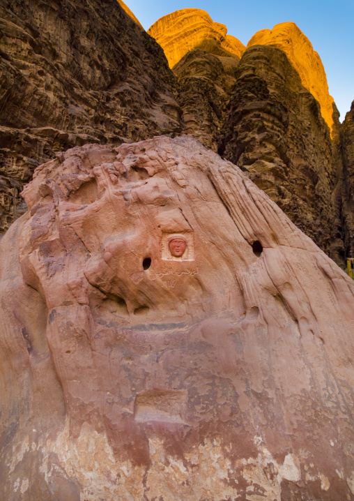 Head Carved In Rock, Wadi Rum, Jordan