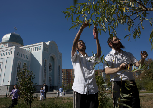 Men Picking Up Fruit At The Blue Synagogue In Astana, Kazakhstan