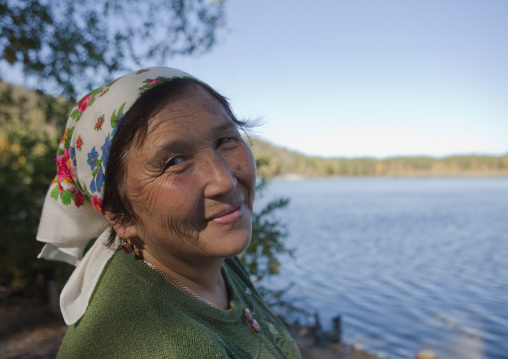 Woman In Burabay Lake, Kazakhstan