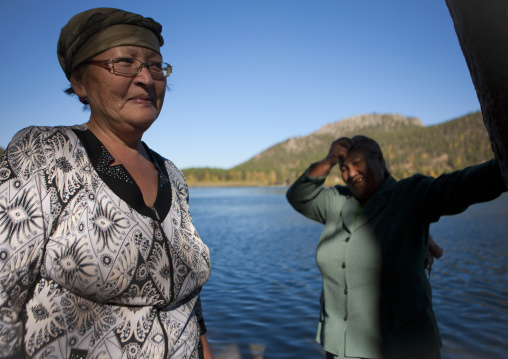 Women In Burabay Lake, Kazakhstan