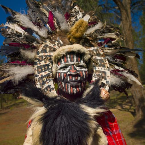 Kikuyu tribe man with facial make up, Laikipia county, Thomson falls, Kenya