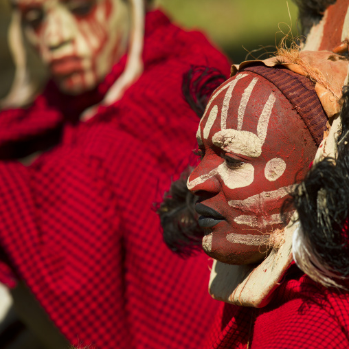 Kikuyu tribe men with facial make up, Laikipia county, Thomson falls, Kenya