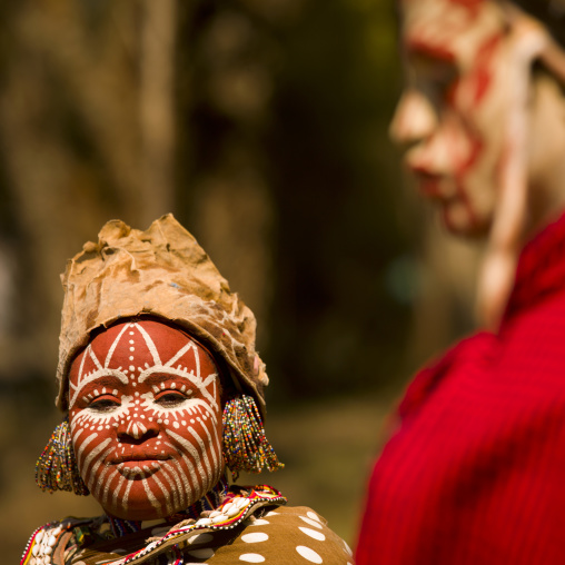 Kikuyu tribe woman with facial make up, Laikipia county, Thomson falls, Kenya