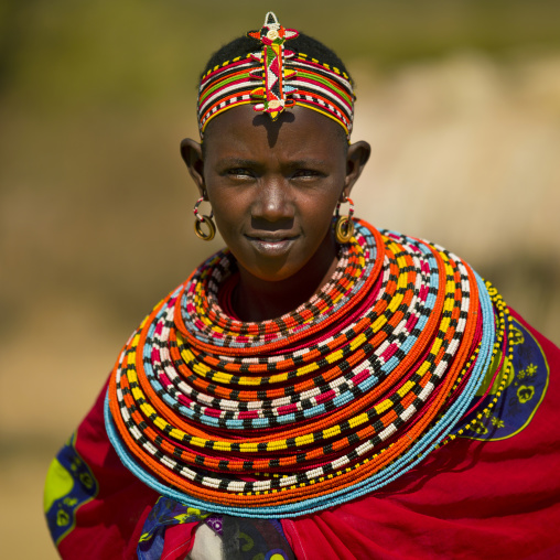 Samburu woman with traditional jewellry, Samburu county, Samburu national reserve, Kenya