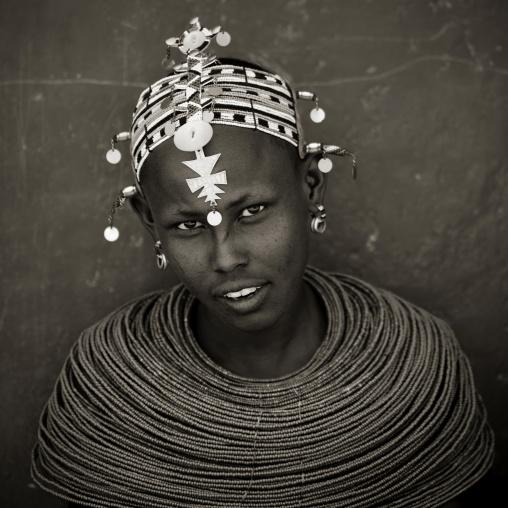 Portrait of a Samburu tribe woman with beaded necklaces, Samburu County, Maralal, Kenya