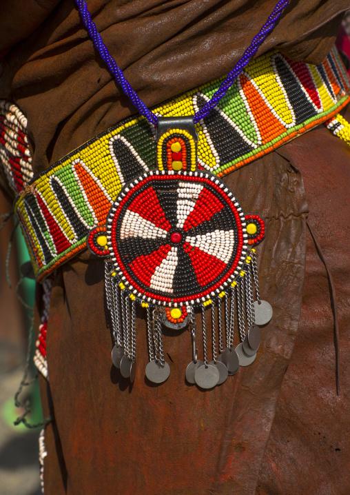 Turkana tribesman beaded decoration, Turkana lake, Loiyangalani, Kenya