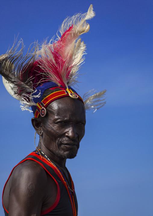Portrait of a turkana tribesman, Turkana lake, Loiyangalani, Kenya