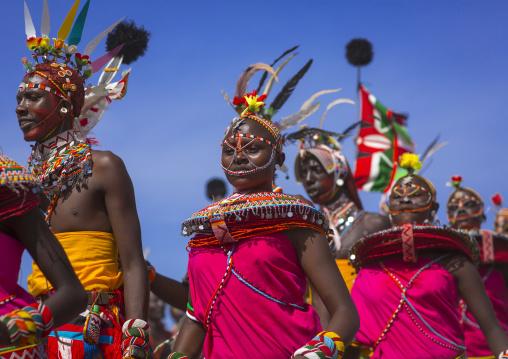 Rendille tribe men and women dancing, Turkana lake, Loiyangalani, Kenya