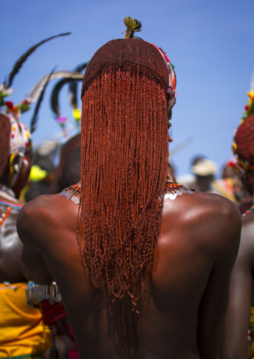 Rendille tribesman with long braided hair, Turkana lake, Loiyangalani, Kenya