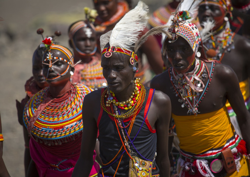 Rendille and turkana tribes dancing together during a festival, Turkana lake, Loiyangalani, Kenya