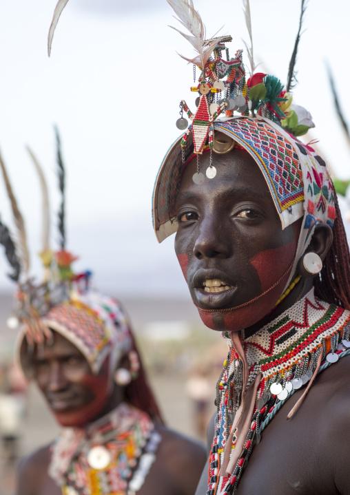 Portrait of rendille warriors wearing traditional headwears, Turkana lake, Loiyangalani, Kenya