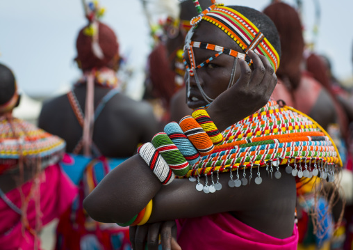 Rendille tribe men and women dancing, Turkana lake, Loiyangalani, Kenya