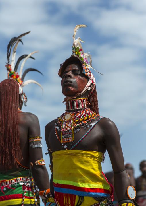 Portrait of rendille warriors dancing and jumping, Turkana lake, Loiyangalani, Kenya