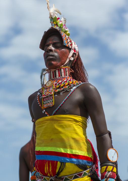 Rendille tribesman dance, Turkana lake, Loiyangalani, Kenya