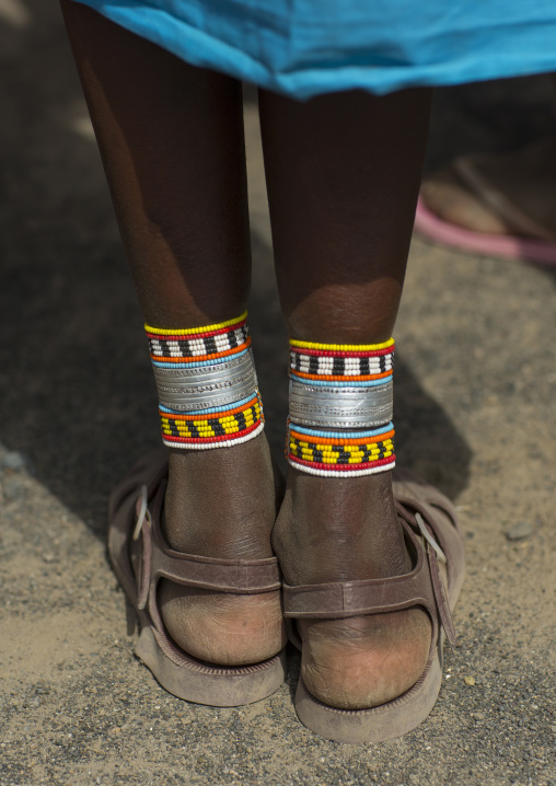 Samburu dancer's ankle decorations, Turkana lake, Loiyangalani, Kenya