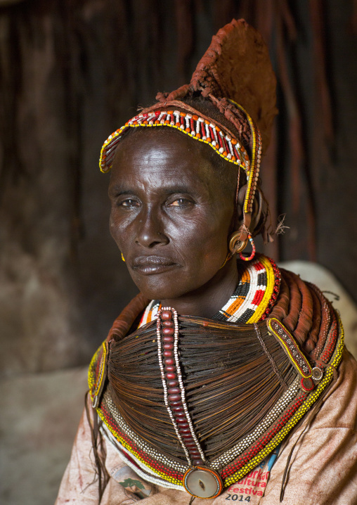 Rendille tribeswoman wearing doko headdress and mpooro engorio necklace, Turkana lake, Loiyangalani, Kenya