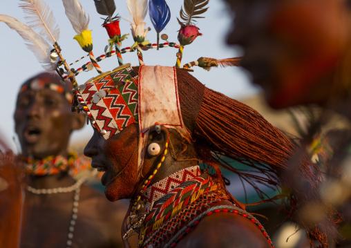 Rendille warriors with long braided hair, Turkana lake, Loiyangalani, Kenya