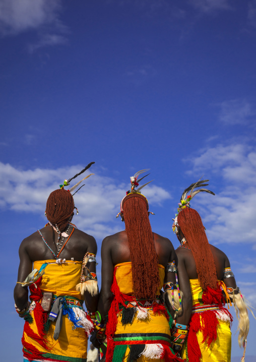 Rendille warriors with long braided hair, Turkana lake, Loiyangalani, Kenya