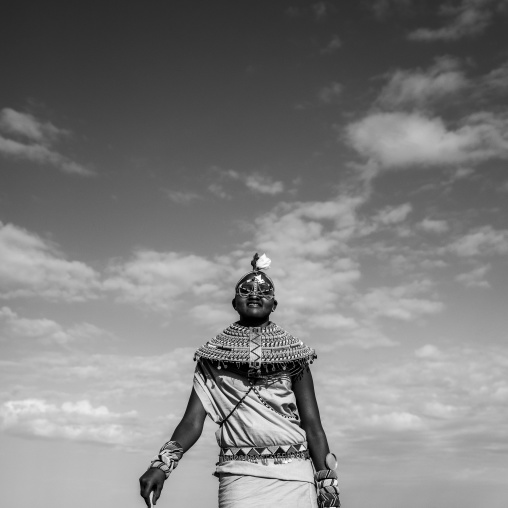 Rendille tribeswoman wearing traditional headdress and jewellery, Turkana lake, Loiyangalani, Kenya