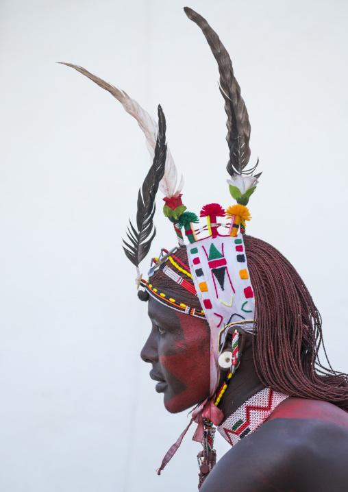 Portrait of rendille warrior wearing traditional headwear, Turkana lake, Loiyangalani, Kenya