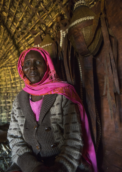 Borana tribe woman inside a hut, Marsabit district, Marsabit, Kenya