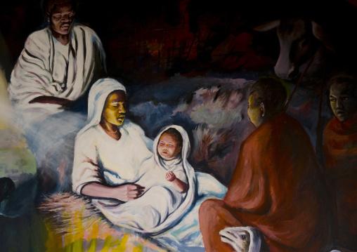 A mural in the catholic church telling the bible, Marsabit district, Marsabit, Kenya