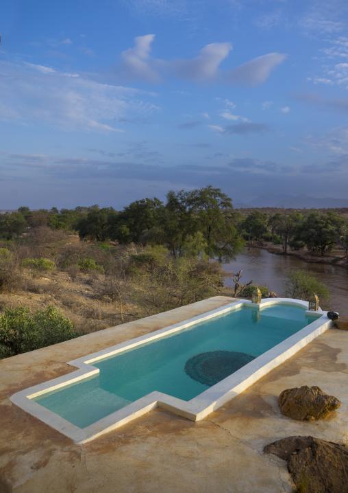 Private pool in the luxurious sasaab lodge on the banks of the uaso nyiru river, Samburu county, Samburu national reserve, Kenya