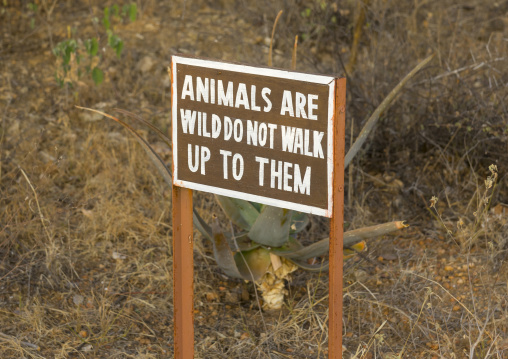 Warning sign in sasaab lodge, Samburu county, Samburu national reserve, Kenya