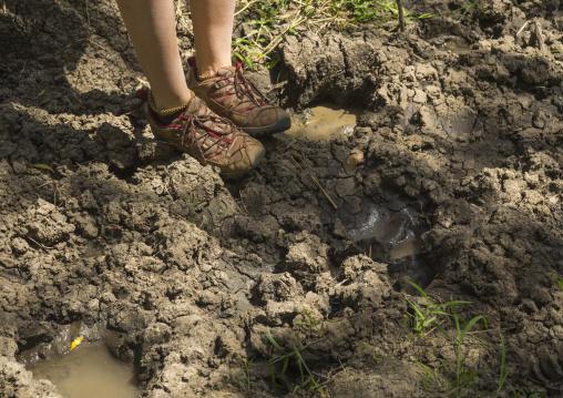 Tourist looking at hippopotamus amphibius footprints, Rift valley province, Maasai mara, Kenya