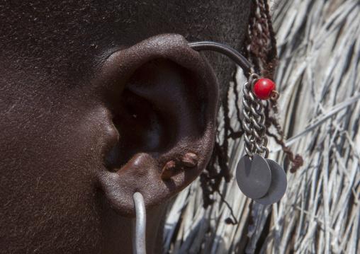 El molo tribe earrings close-up, Turkana lake, Loiyangalani, Kenya