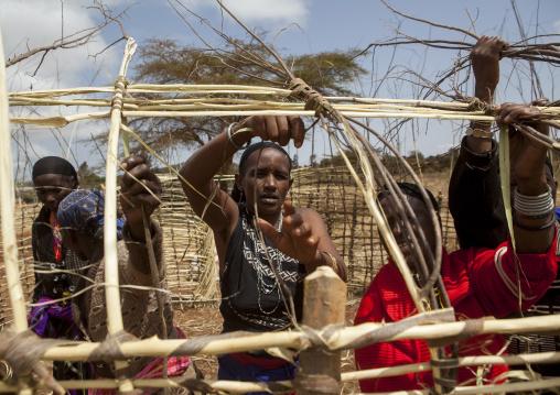 Borana women building a house with wood, Marsabit district, Marsabit, Kenya