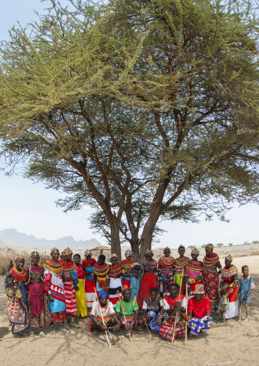 Rendille tribe under a big tree, Marsabit district, Ngurunit, Kenya