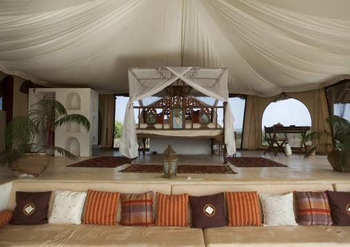 A bedroom in the luxurious sasaab lodge on the banks of the uaso nyiru river, Samburu county, Samburu national reserve, Kenya