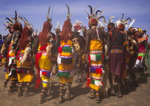 Rendille and turkana tribes dancing together during a festival, Turkana lake, Loiyangalani, Kenya
