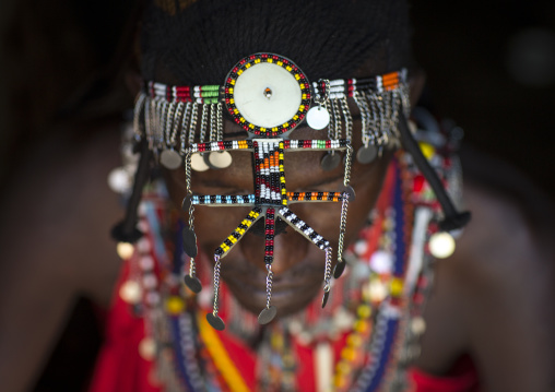 Detail of masai warrior's decoration, Nakuru county, Nakuru, Kenya