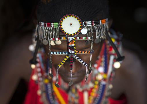 Detail of masai warrior's decoration, Nakuru county, Nakuru, Kenya